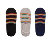 Three-Pack Striped Cotton-Blend No-Show Socks
