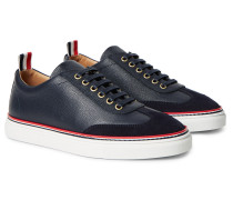 Suede-trimmed Full-grain Leather Sneakers