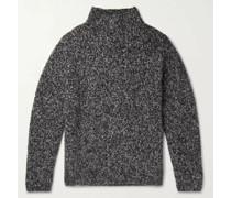 Mélange Cashmere and Silk-Blend Mock-Neck Sweater