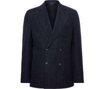+ Drake's Double-Breasted Herringbone Wool and Linen-Blend Suit Jacket