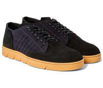 Two-tone Panelled Suede Sneakers
