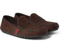 Webbing-trimmed Suede Loafers