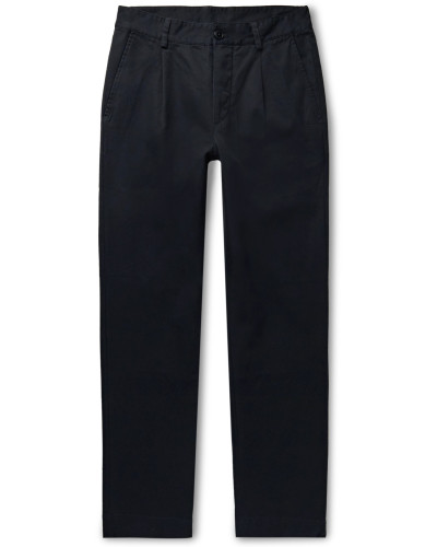 Midnight-Blue Pleated Cotton-Twill Trousers