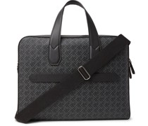 Leather-Trimmed Logo-Print Coated-Canvas Briefcase
