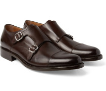 Bristol Cap-toe Polished-leather Monk-strap Shoes