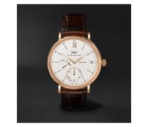 Portofino Hand-Wound Eight Days 45mm 18-Karat Rose Gold and Alligator Watch, Ref. No. IW510107MSNET60