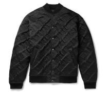 Oversized Logo-Embossed Satin Bomber Jacket
