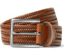 3.5cm Brown Semyo Woven Leather Belt