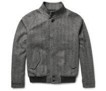 Herringbone Virgin Wool-blend Bomber Jacket