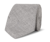 7cm Slub Herringbone Linen, Virgin Wool And Silk-blend Tie