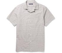 Camp-collar Checked Cotton-seersucker Shirt