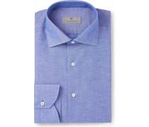 Blue Slim-fit Cutaway-collar Slub Cotton And Linen-blend Shirt