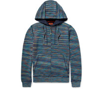 Slim-fit Space-dyed Knitted Cotton Zip-up Hoodie