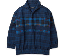 Oversized Checked Cotton-Flannel Bomber Jacket