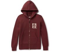 Appliquéd Loopback Cotton-blend Jersey Zip-up Hoodie