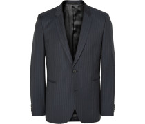 Navy Slim-fit Pinstriped Wool Suit Jacket