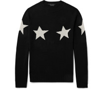 Slim-fit Distressed Star-intarsia Wool And Cashmere-blend Sweater