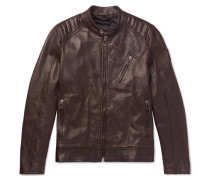 V Racer Slim-fit Leather Jacket