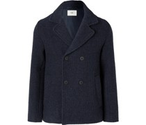 Double-Breasted Brushed Wool and Cotton-Blend Peacoat