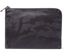 Camouflage-print Jacquard Pouch