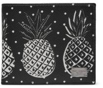 Pineapple-print Pebble-grain Leather Billfold Wallet