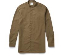 Slim-fit Grandad-collar Cotton-poplin Shirt