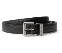 2cm Black Pebble-grain Leather Belt