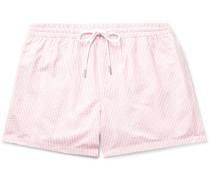 Arlen Slim-Fit Short-Length Striped Seersucker Swim Shorts