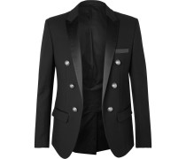 Black Slim-fit Double-breasted Satin-trimmed Cotton Blazer
