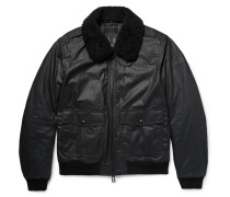 Mortimer Shearling-trimmed Waxed-cotton Bomber Jacket