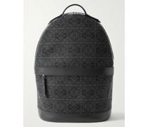 Leather-Trimmed Logo-Jacquard Canvas Backpack