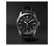 SOLO Black Automatic 43mm Stainless Steel and Leather Watch, Ref. SOLO43-WH-R-S