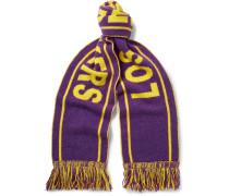 + Nba Lakers Fringed Intarsia Cashmere Scarf