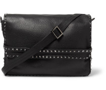 Rockstud Full-grain Leather Messenger Bag