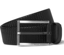 3.5cm Blue Clif Textured-leather Belt