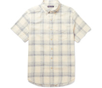 Slim-fit Button-down Collar Checked Linen And Cotton-blend Shirt