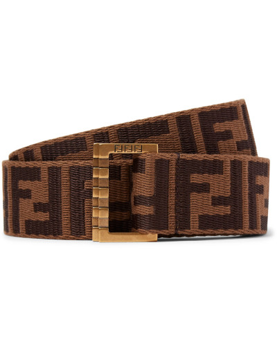 3.5cm Brown Webbing And Leather Belt - Brown