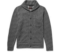 Shawl-collar Herringbone Woven Cardigan