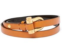 Leather Gold-tone Wrap Bracelet