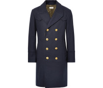 Double-breasted Melton Wool-blend Coat