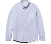 Lungta Button-down Collar Flag-appliquéd Cotton-oxford Shirt