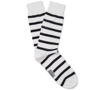 Striped Stretch Cotton-blend Socks