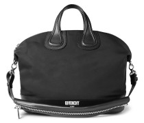 Leather-trimmed Canvas Holdall