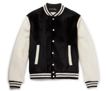 Slim-fit Two-tone Shearling Bomber Jacket