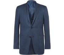 Blue Slim-fit Slub Cashmere, Silk And Hemp-blend Jacquard Blazer