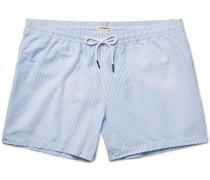 Arlen Slim-fit Mid-length Seersucker Swim Shorts