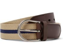 3.5cm Leather-trimmed Webbing Belt