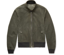 Slim-fit Suede Harrington Jacket