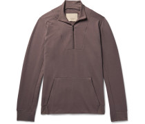 Fleece-back Stretch-cotton Jersey Half-zip Sweatshirt