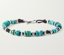 Alpine Sterling Silver, Leather and Turquoise Beaded Bracelet